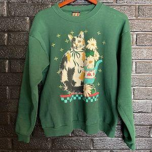 Vintage cat sweatshirt crewneck size large